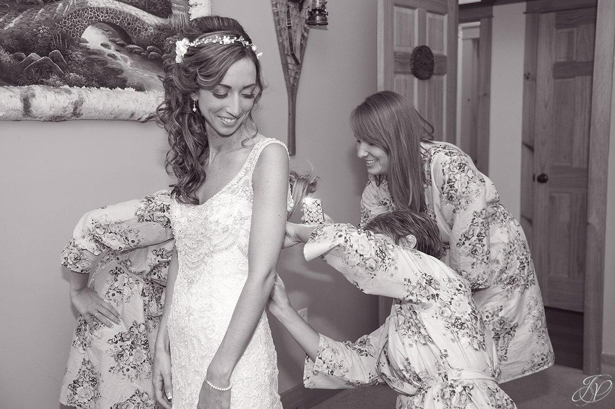 bride getting ready lake placid wedding