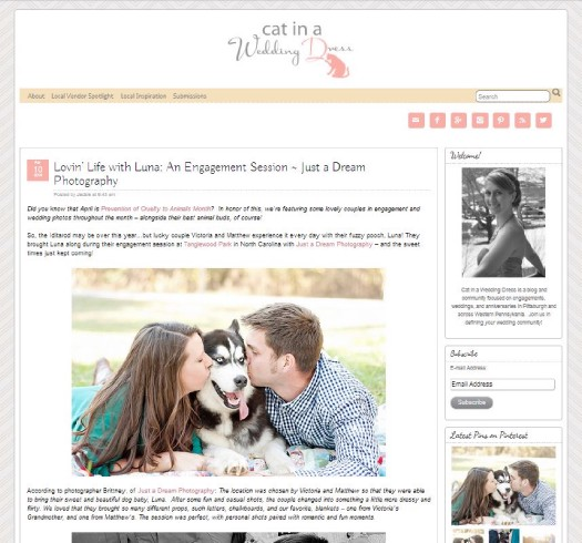 winston salem nc featured published wedding photographers engagement session with pet photography photo
