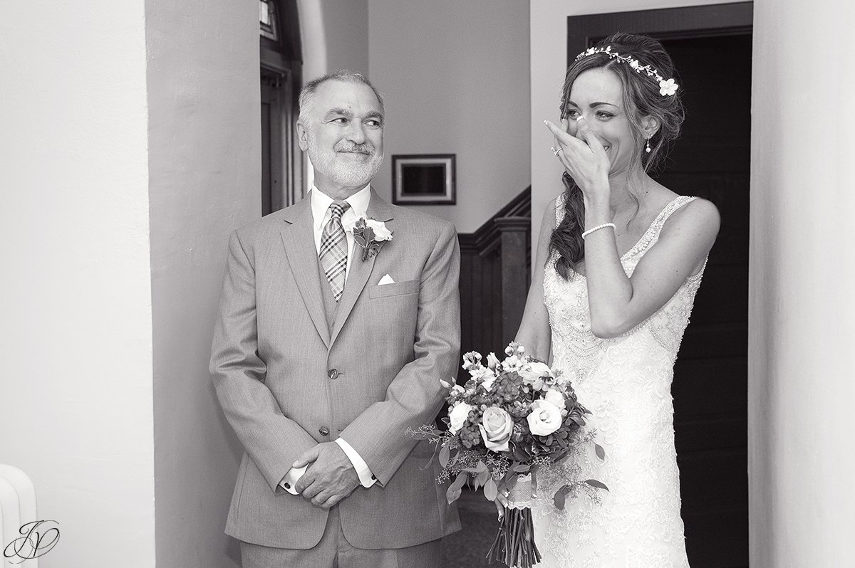 emotional moment with dad and bride at church