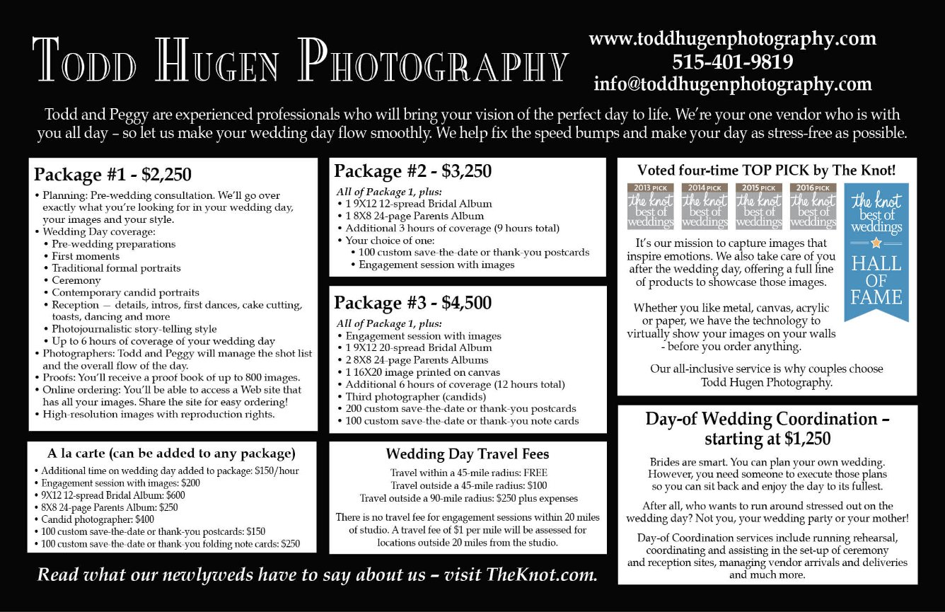 Todd Hugen Photography – Wedding Pricing