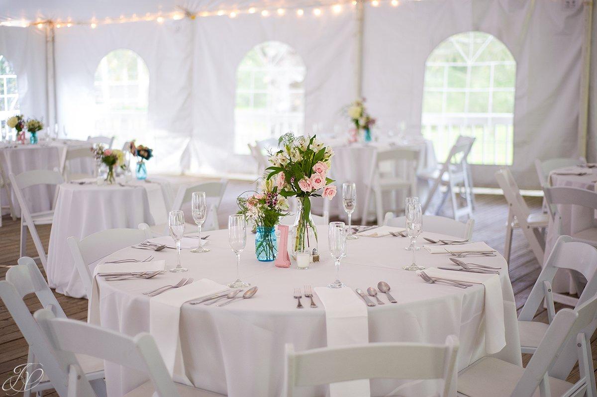 vintage reception details, tent reception