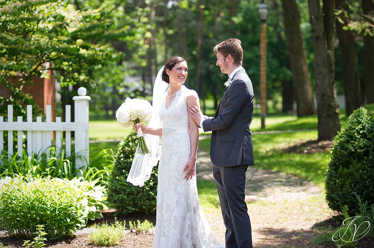 smiling bride with groom, beautiful candid at pruyn house, bride and groom portrait, pruyn house wedding, Wedding at The Pruyn House, Albany Wedding Photographer