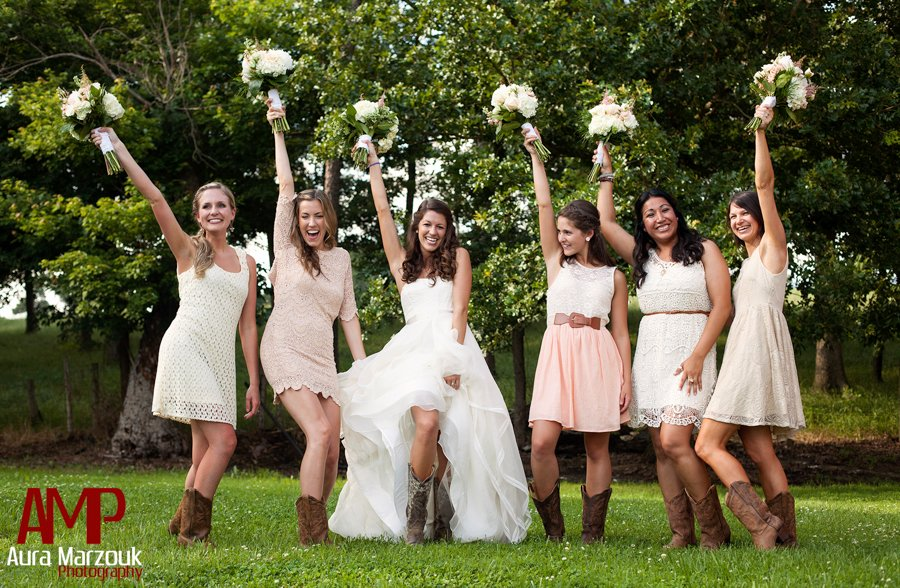 Bridesmaids Pose In Their Lovely Ivory Lace Bridesmaid Dresses With Cowboy Boots C Aura Marzouk