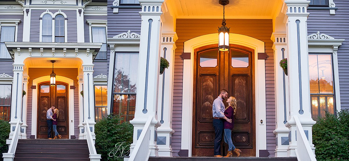 romantic couple portrait fall victorian house saratoga springs