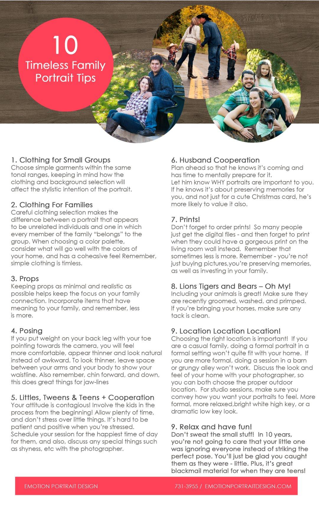 Ten Tips for Timeless Family Portraits - Emotion Portrait Design