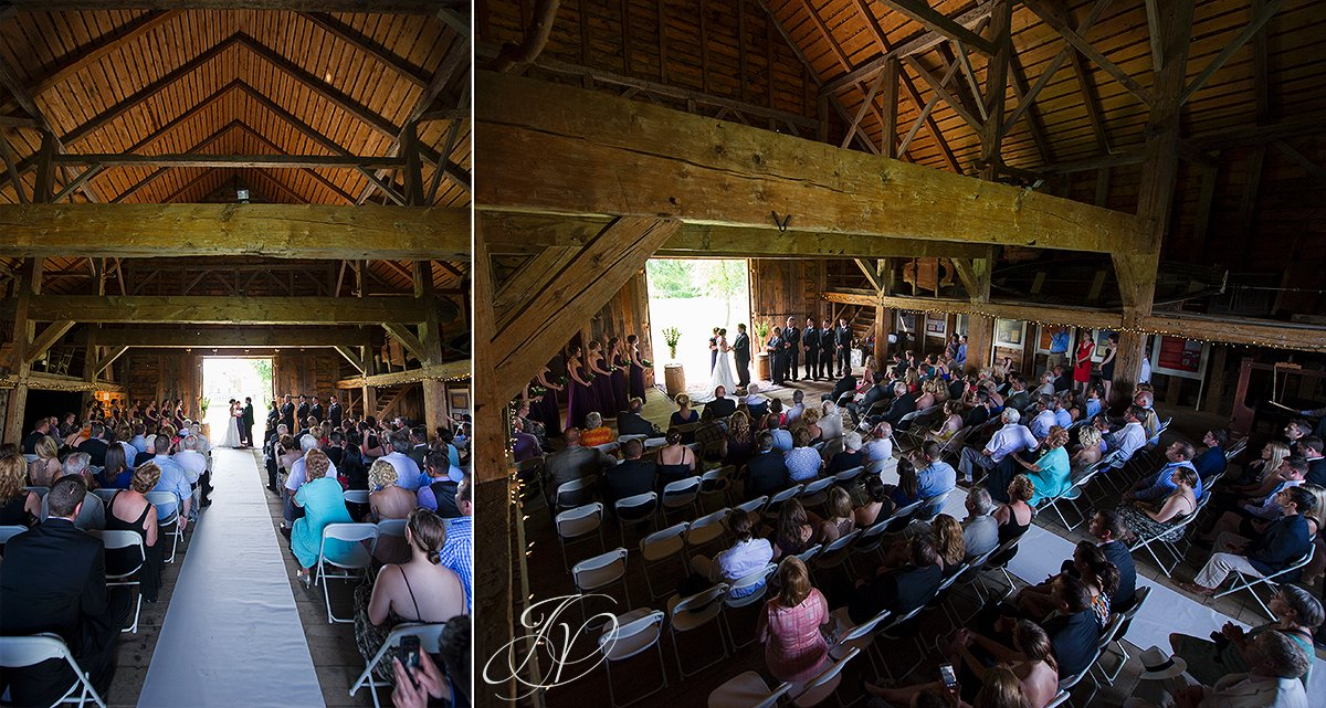 wide angle barn ceremony photo, wedding at mabee Farms, mabee farms historic site, Schenectady Wedding Photographer, Key Hall Proctors reception