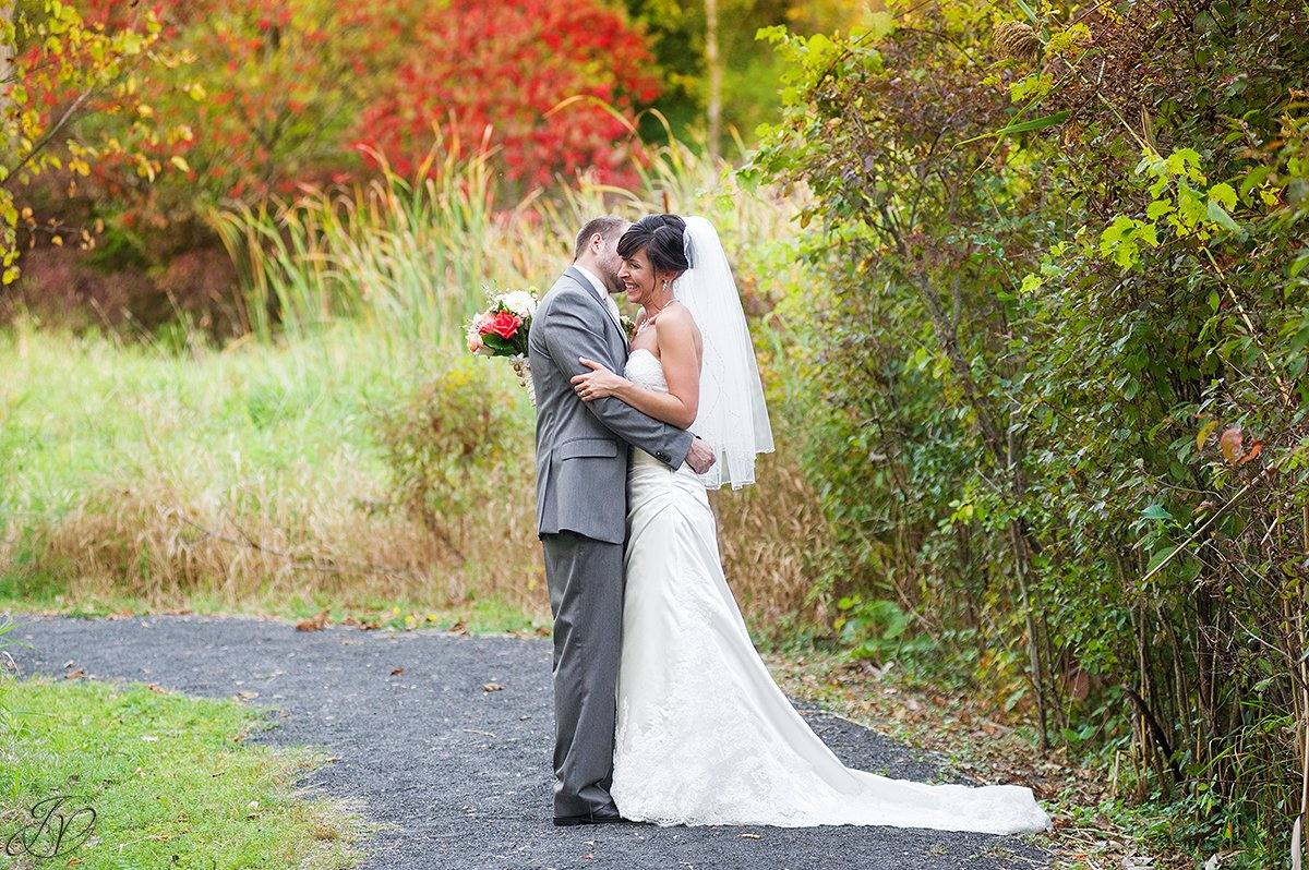 cute fall bride and groom photo
