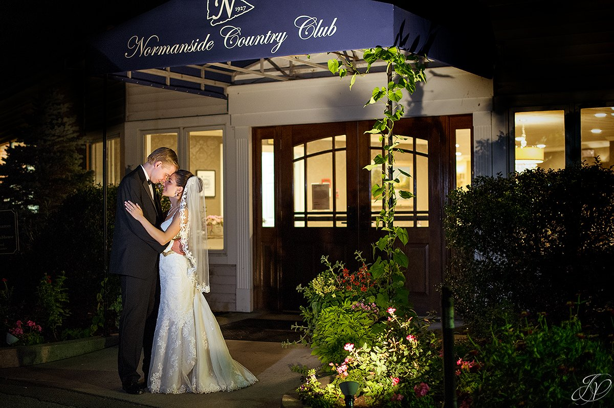 romantic bride and groom night photo normanside country club