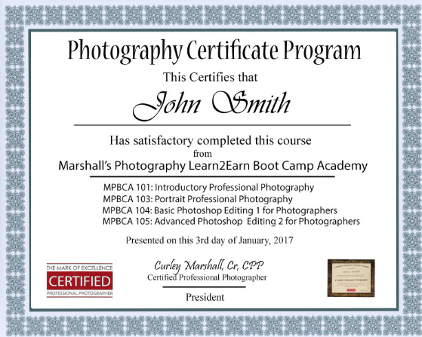 certificate prorgam - marshall's photography, classes/lessons houston