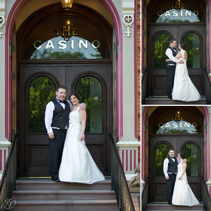 bride and groom with facade of canfield casino