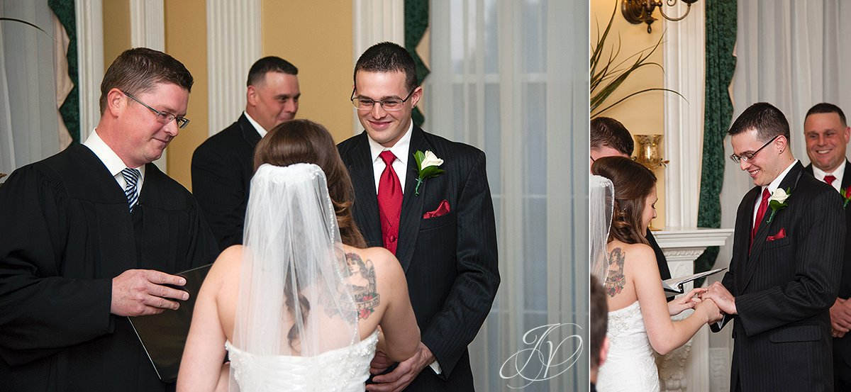 bride and groom at alter, Schenectady Wedding Photographer, wedding ceremony stockade inn, The Stockade Inn