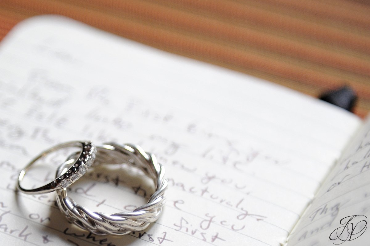 unique photo of wedding bands on hand written vows, jessica painter photography