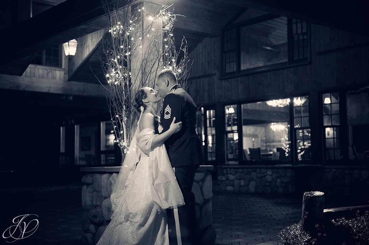 outside bride and groom night photos, Lake Placid Wedding Photographer, lake placid wedding, reception detail photos, Wedding at the Lake Placid Crowne Plaza