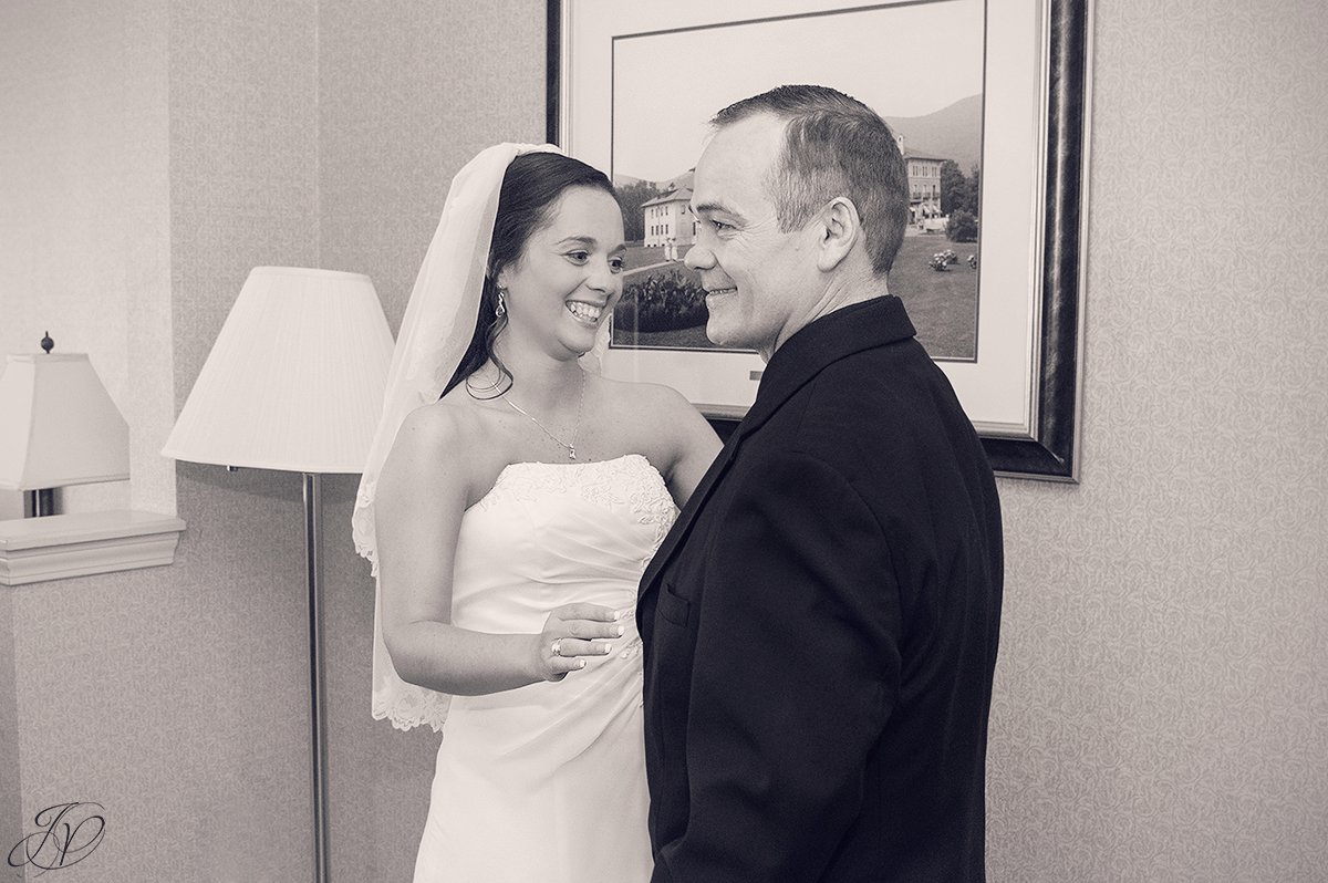 photo of bride and father first look
