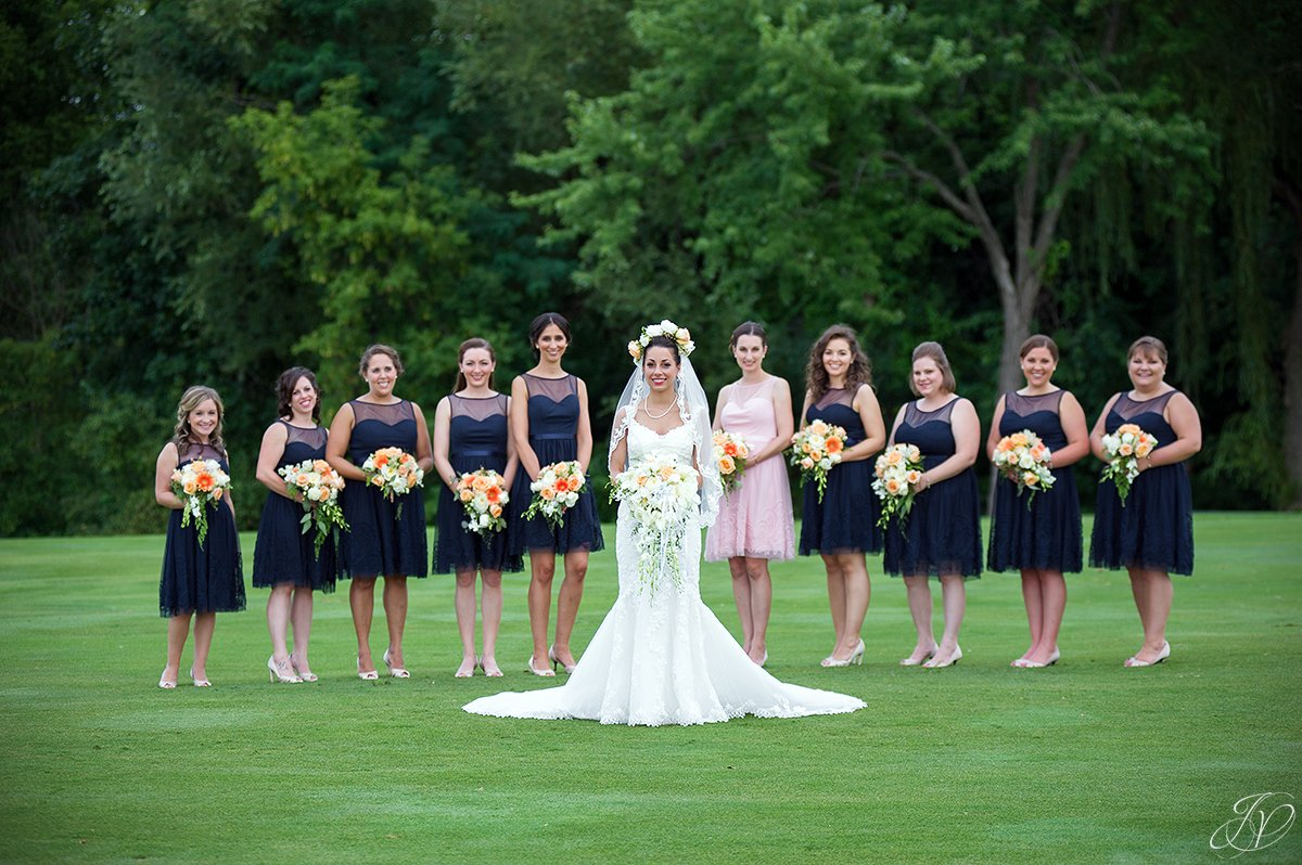 large bridal party in blue normanside country club