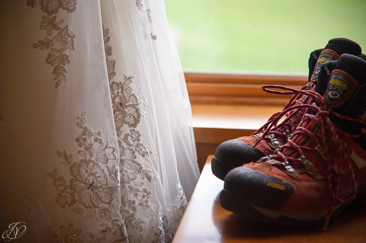 Stella York wedding dress details wedding hiking boots