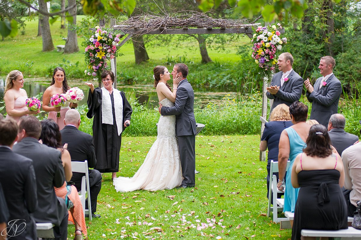 awesome photo of bride and groom's first kiss