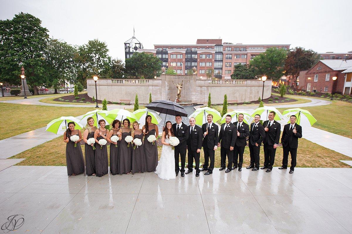 wedding party rain congress park summer