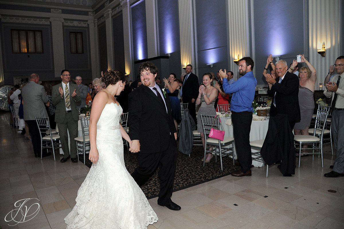 bride and groom announced, first dance photo, Key Hall Proctors reception, Schenectady Wedding Photographer