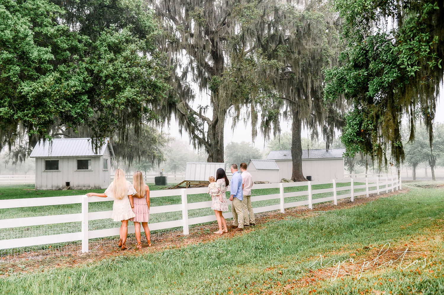 family looking into farm pen, 5 people and a baby, Rya Duncklee, Florida family photographer