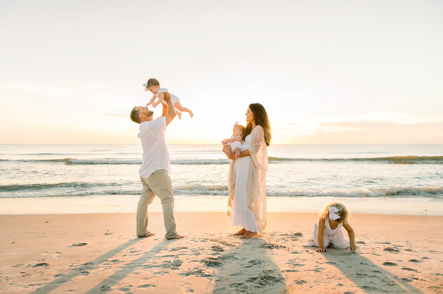 family of 5 on Ponte Vedra Beach at sunrise, Ryaphotos family portrait
