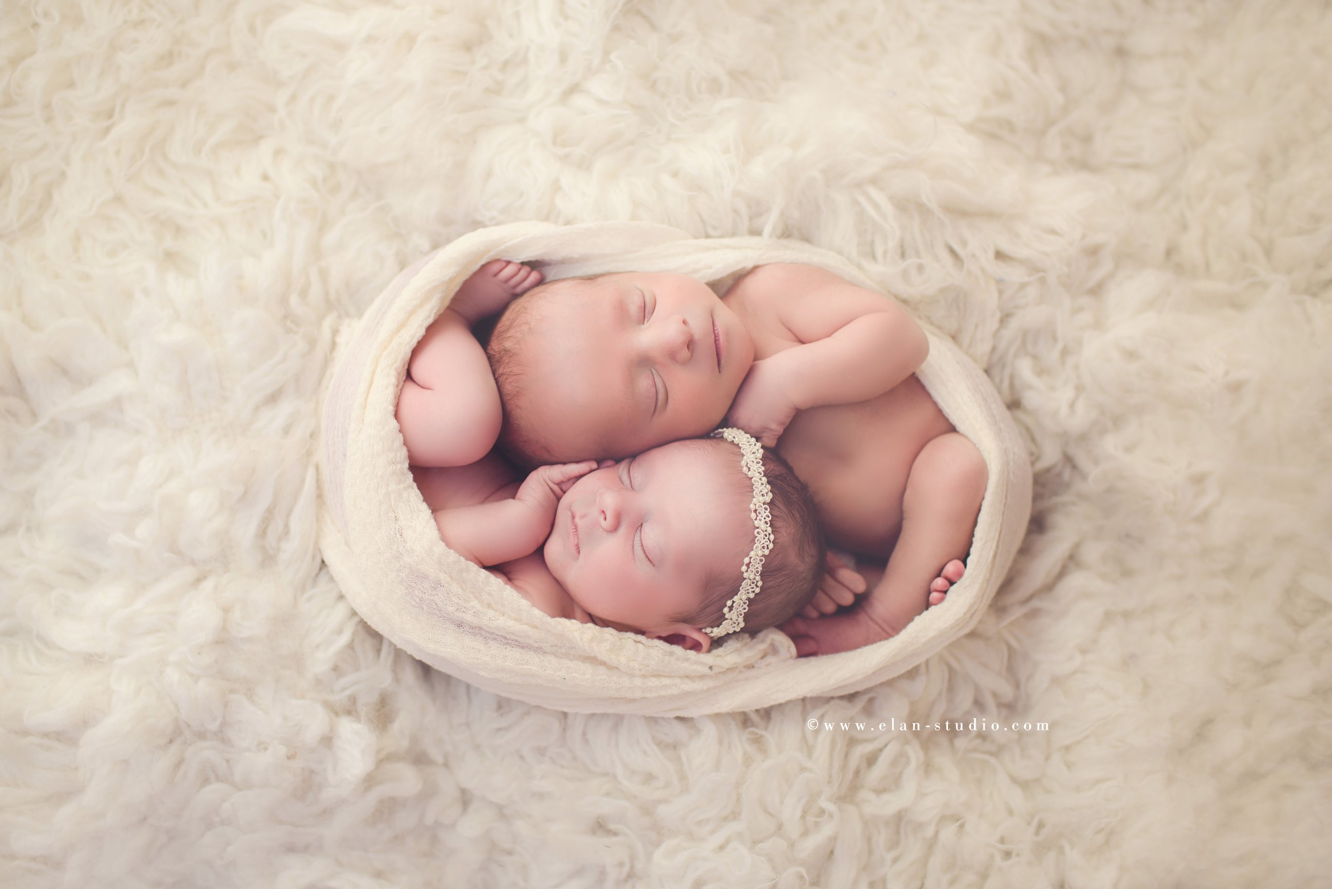 cocooned newborn twins