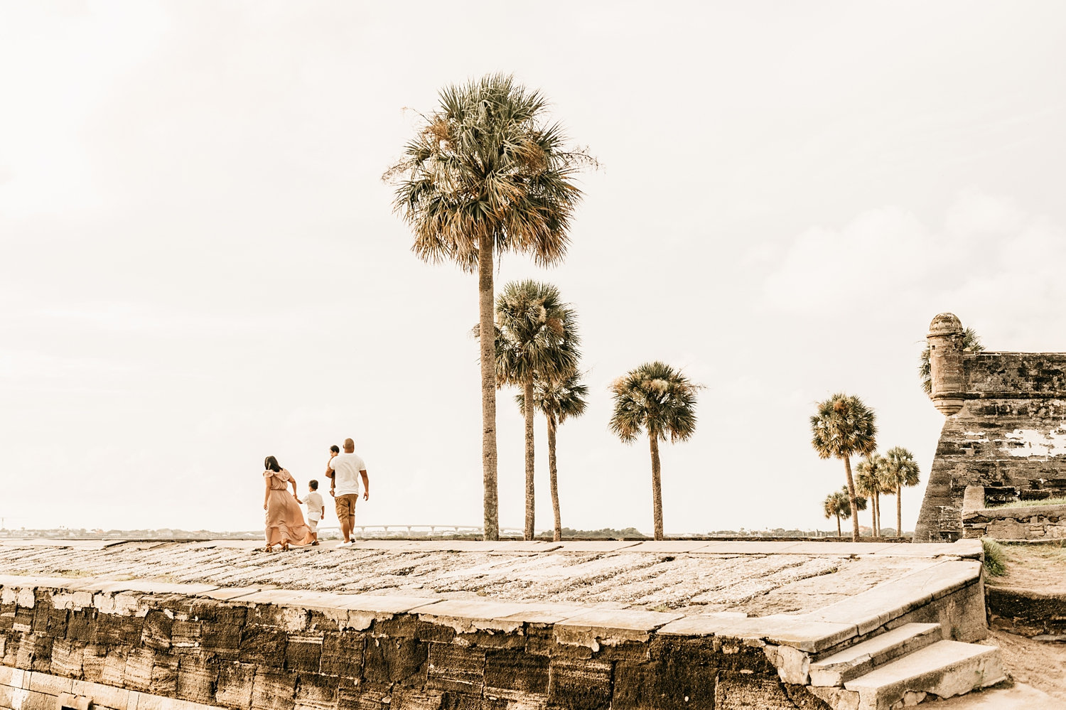 family portrait Saint Augustine, Florida family photography, St. Augustine fort and palm trees